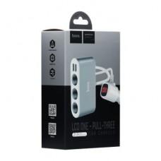 Автомобильная зарядка Hoco Z13 (3 порта+2USB/2.1A+LCD)