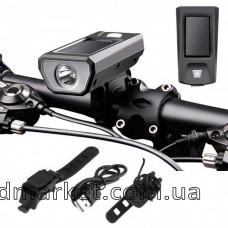 Велосипедный звонок+велофара FY-316, solar выносная кнопка