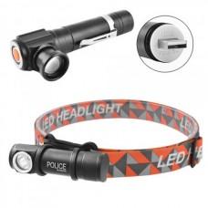 Налобный фонарь 2 в 1 Police W01-T6