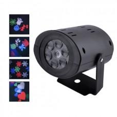Лазерный проектор ST7006\W665, 12LED, снежинки\елочки